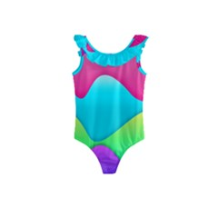 Lines Curves Colors Geometric Lines Kids  Frill Swimsuit
