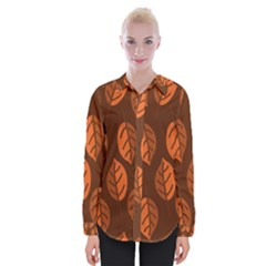 Pattern Leaf Plant Decoration Womens Long Sleeve Shirt