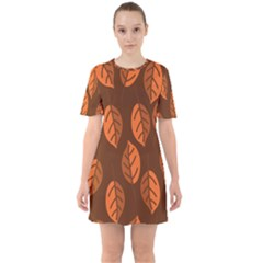 Pattern Leaf Plant Decoration Sixties Short Sleeve Mini Dress