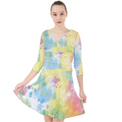 Abstract Pattern Color Art Texture Quarter Sleeve Front Wrap Dress