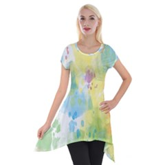 Abstract Pattern Color Art Texture Short Sleeve Side Drop Tunic