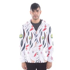 Watercolor Tablecloth Fabric Design Hooded Windbreaker (men) by Nexatart