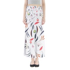 Watercolor Tablecloth Fabric Design Full Length Maxi Skirt