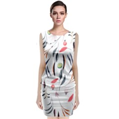 Watercolor Tablecloth Fabric Design Sleeveless Velvet Midi Dress