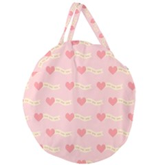 Heart Love Pattern Giant Round Zipper Tote