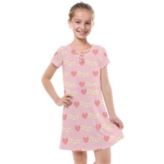 Heart Love Pattern Kids  Cross Web Dress