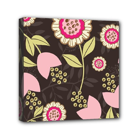 Flowers Wallpaper Floral Decoration Mini Canvas 6  X 6  by Nexatart