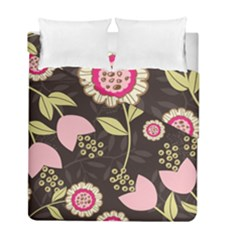 Flowers Wallpaper Floral Decoration Duvet Cover Double Side (full/ Double Size)