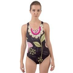 Flowers Wallpaper Floral Decoration Cut Out Back One Piece Swimsuit