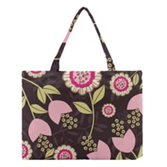 Flowers Wallpaper Floral Decoration Medium Tote Bag