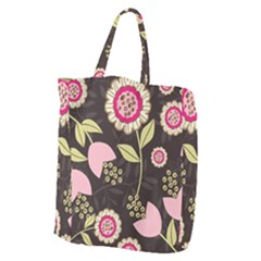 Flowers Wallpaper Floral Decoration Giant Grocery Tote
