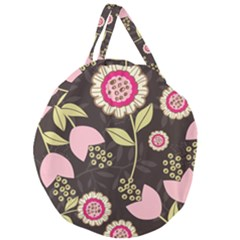 Flowers Wallpaper Floral Decoration Giant Round Zipper Tote