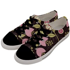 Flowers Wallpaper Floral Decoration Men s Low Top Canvas Sneakers by Nexatart