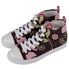 Flowers Wallpaper Floral Decoration Women s Mid Top Canvas Sneakers by Nexatart