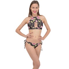 Flowers Wallpaper Floral Decoration Cross Front Halter Bikini Set