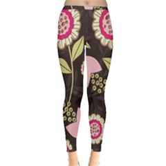 Flowers Wallpaper Floral Decoration Inside Out Leggings by Nexatart