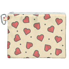 Design Love Heart Seamless Pattern Canvas Cosmetic Bag (xxl)