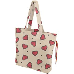 Design Love Heart Seamless Pattern Drawstring Tote Bag