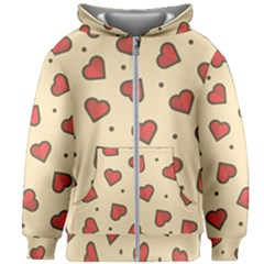 Design Love Heart Seamless Pattern Kids Zipper Hoodie Without Drawstring