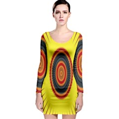 Art Decoration Wallpaper Bright Long Sleeve Bodycon Dress