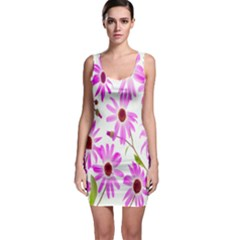 Pink Purple Daisies Design Flowers Bodycon Dress
