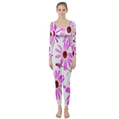 Pink Purple Daisies Design Flowers Long Sleeve Catsuit by Nexatart