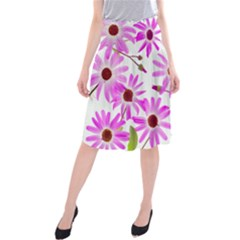 Pink Purple Daisies Design Flowers Midi Beach Skirt