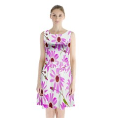 Pink Purple Daisies Design Flowers Sleeveless Waist Tie Chiffon Dress