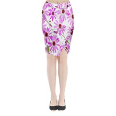 Pink Purple Daisies Design Flowers Midi Wrap Pencil Skirt