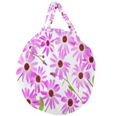 Pink Purple Daisies Design Flowers Giant Round Zipper Tote