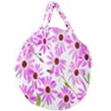 Pink Purple Daisies Design Flowers Giant Round Zipper Tote View2