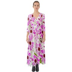 Pink Purple Daisies Design Flowers Button Up Boho Maxi Dress