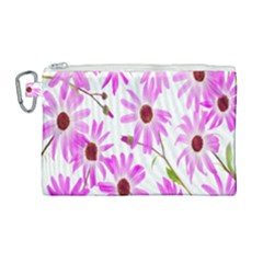 Pink Purple Daisies Design Flowers Canvas Cosmetic Bag (large) by Nexatart