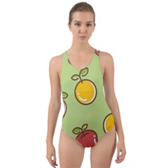 Seamless Pattern Healthy Fruit Cut Out Back One Piece Swimsuit