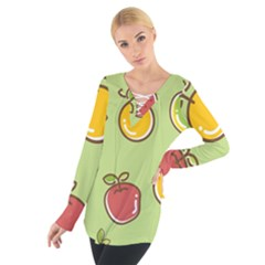 Seamless Pattern Healthy Fruit Tie Up Tee by Nexatart