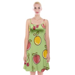 Seamless Pattern Healthy Fruit Spaghetti Strap Velvet Dress
