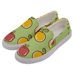 Seamless Pattern Healthy Fruit Men s Canvas Slip Ons by Nexatart