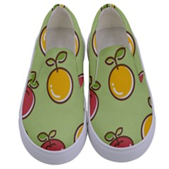 Seamless Pattern Healthy Fruit Kids  Canvas Slip Ons