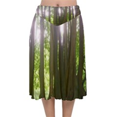 Tree Of Trees Velvet Flared Midi Skirt