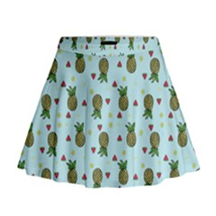 Pineapple Watermelon Fruit Lime Mini Flare Skirt
