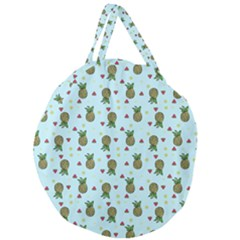 Pineapple Watermelon Fruit Lime Giant Round Zipper Tote