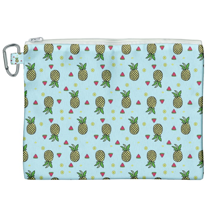 Pineapple Watermelon Fruit Lime Canvas Cosmetic Bag (XXL)