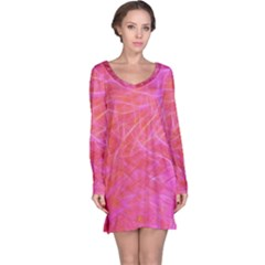 Pink Background Abstract Texture Long Sleeve Nightdress by Nexatart