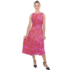 Pink Background Abstract Texture Midi Tie Back Chiffon Dress