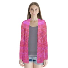 Pink Background Abstract Texture Drape Collar Cardigan by Nexatart
