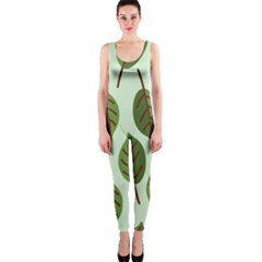 Design Pattern Background Green One Piece Catsuit