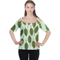 Design Pattern Background Green Cutout Shoulder Tee