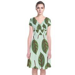 Design Pattern Background Green Short Sleeve Front Wrap Dress