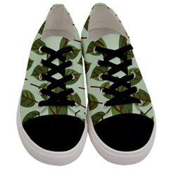 Design Pattern Background Green Men s Low Top Canvas Sneakers