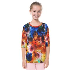 Ornament Color Vivid Pattern Art Kids  Quarter Sleeve Raglan Tee